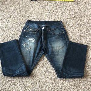 True religion men's jeans tan stitching distress
